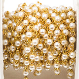 1 yard White Pearl Rosary Chain, gold, 4mm round glass pearl beads, fch0236