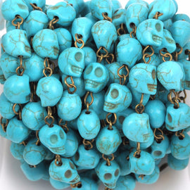 1 yard TURQUOISE HOWLITE SKULL Bead Rosary Chain, gemstone chain, bronze gold links, 10mm round gemstone beads, fch0370a