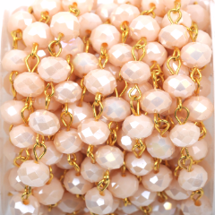 1 yard (3 feet) PASTEL PEACH Crystal Rondelle Rosary Chain, bright gold, 8mm faceted rondelle glass beads, fch0410a