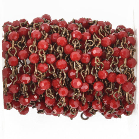 1 yard Dark Red Crystal Rosary Chain, bronze, 4mm round faceted crystal beads, fch0487a