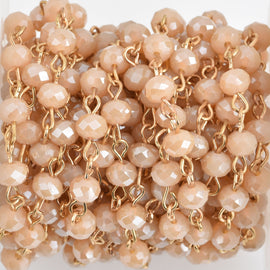 1 yard IVORY CREAM AB Crystal Rondelle Rosary Chain, bright gold wire, 6mm faceted rondelle glass beads, fch0572a