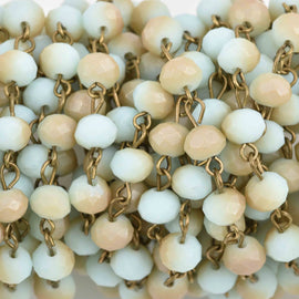 13 feet Pale Blue and Tan Crystal Rosary Chain, bronze wire, 6mm matte rondelle faceted crystal beads, fch0688b
