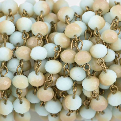 4.33 yards (13 feet) Pale Blue and Tan Crystal Rosary Chain, bronze wire, 6mm matte rondelle faceted crystal beads, fch0688b