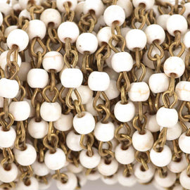 1 yard WHITE Howlite Rosary Chain, bronze links, 4mm round stone beads, fch0615a
