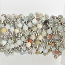 3 feet (1 yard)) AMAZONITE GEMSTONE Rosary Chain, silver, 4mm round gemstone beads, fch0616a