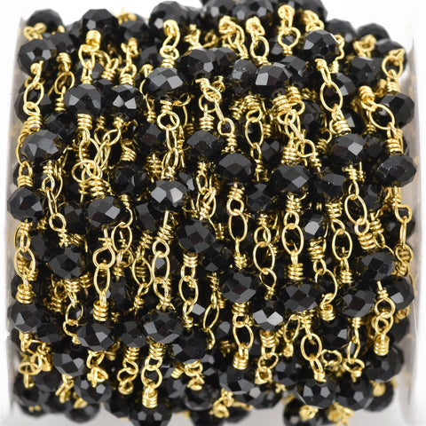 1 yard BLACK Crystal Rondelle Rosary Chain, bright gold double wrap, 6mm faceted rondelle glass beads, fch0650a