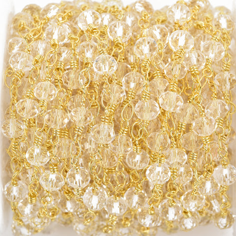 1 yard CLEAR Crystal Rosary Chain, bright GOLD double wrap, 6mm faceted rondelle glass beads, fch0657a