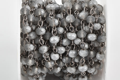1 yard Frosted Matte SILVER GREY Crystal Rondelle Rosary Chain, gunmetal, 6mm faceted rondelle glass beads, fch0661a