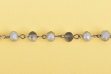 1 yard (3 feet) Frosted Matte SILVER GREY Crystal Rondelle Rosary Chain, gunmetal, 8mm faceted rondelle glass beads, fch0662a