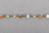 1 yard JASPER, AMAZONITE & CRYSTAL Crystal Rosary Chain, bronze, 6mm faceted round and rondelle beads, fch0665a