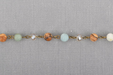 3 feet (1 yard) JASPER, AMAZONITE & CRYSTAL Crystal Rosary Chain, bronze, 6mm faceted round and rondelle beads, fch0665a