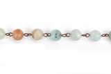 1 yard (3 feet) AMAZONITE GEMSTONE Rosary Chain, copper wire, 8mm round gemstone beads, fch0667a