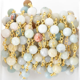 13 feet (4 meters) AMAZONITE GEMSTONE Rosary Chain, bright gold, 6mm round gemstone beads, fch0675b