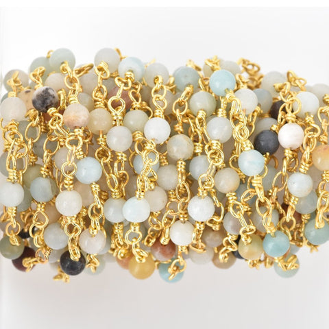 3 feet (1 yard) AMAZONITE GEMSTONE Rosary Chain, bright gold, 4mm round gemstone beads, fch0676a