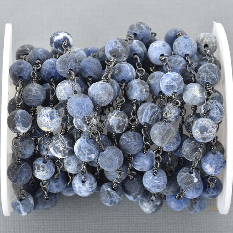 13 feet (4 meters) Matte SODALITE GEMSTONE Rosary Chain, gunmetal, denim blue white natural sodalite, 8mm round gemstone beads, fch0678b