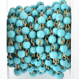 1 yard (3 feet) TURQUOISE BLUE Howlite Rosary Chain, Howlite Bead Chain, bronze, 6mm round stone beads, bulk on spool, fch0679a