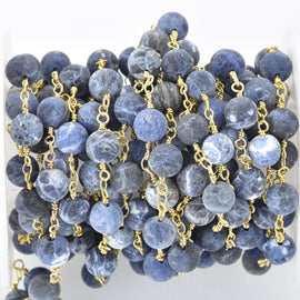 1 yard (3 feet) Matte SODALITE GEMSTONE Rosary Chain, bright gold, denim blue white natural sodalite, 8mm round gemstone beads fch0681a