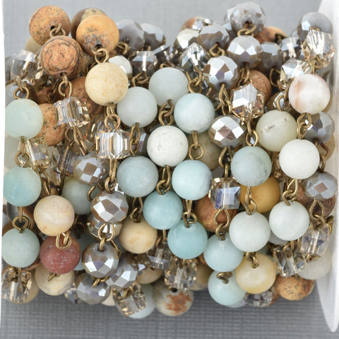 13 feet (4.33 yards) Gemstone Crystal Rosary Chain, Picture Jasper, Amazonite, Crystal, bronze, 6mm round, cube and rondelle beads fch0691b