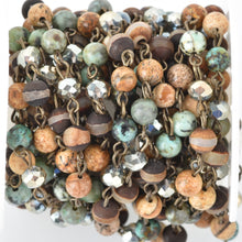1 yard GEMSTONE CRYSTAL Rosary Chain, bronze, African Turquoise, Picture Jasper, Agate, 6mm faceted round & rondelle beads fch0687a