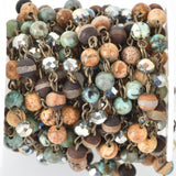 3 feet (1 yard) GEMSTONE CRYSTAL Rosary Chain, bronze, African Turquoise, Picture Jasper, Agate, 6mm faceted round & rondelle beads fch0687a