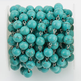 11 feet (3.67 yards) TURQUOISE BLUE Howlite Rosary Chain, silver wire links, 10mm round stone bead chain, fch0697b
