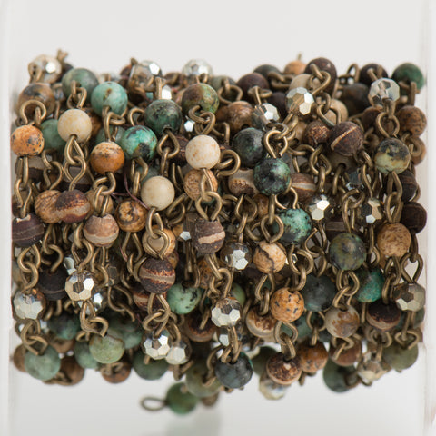 13 feet (4.33 yards) GEMSTONE CRYSTAL Rosary Chain, bronze, African Turquoise, Picture Jasper, Agate, 4mm faceted round beads, fch0703b