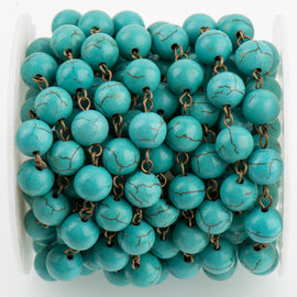 1 yard TURQUOISE BLUE Howlite Rosary Chain, bronze wire links, 10mm round stone bead chain, fch0715a