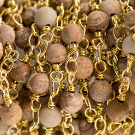 13 feet (4 meters) Matte PICTURE JASPER GEMSTONE Rosary Chain, bright gold, 4mm round gemstone beads, fch0713b
