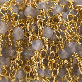 13 feet (4.33 yard) LABRADORITE GEMSTONE Rosary Chain, bright gold, 4mm round gemstone beads, fch0719b