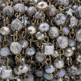 13 feet Gemstone Crystal Rosary Chain, Grey Picture Jasper, Crystal Cube and Rondelle Beads, bronze, 6mm fch0724b