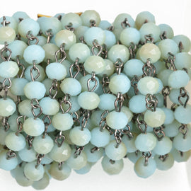 13ft Pale Blue and Tan Crystal Rosary Chain, gunmetal wire, 8mm matte rondelle faceted crystal beads, fch0748b