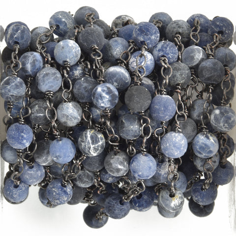13 feet (4 meters) Matte SODALITE GEMSTONE Rosary Chain, gunmetal, denim blue white natural sodalite, 6mm round gemstone beads, fch0753b