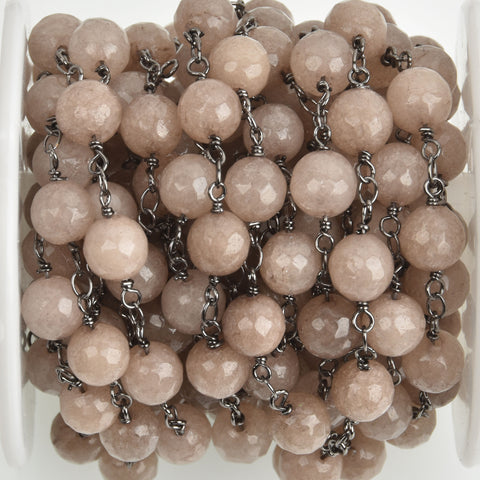 13 feet (4.33 yards) MUSHROOM JADE GEMSTONE Rosary Chain, gunmetal links, 8mm round faceted gemstone beads, fch0755b