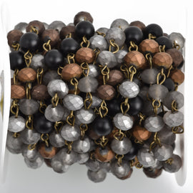 13 feet (4.33 yards) Matte Crystal Gemstone Rosary Chain, Bronze, 8mm, silver, gray, bronze, black howlite, fch0756b