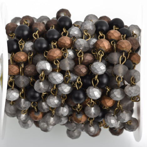 1 yard (3 ft) Matte Crystal Gemstone Rosary Chain, Bronze, 8mm, silver, gray, bronze, black howlite, fch0756a