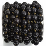 1 yard (3ft) BLACK Howlite Rosary Chain, bronze wire links, 10mm round stone bead chain, fch0757a