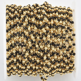 1 yard 2mm Seed Bead Chain, Glass Gold Black, fch1142a