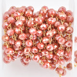 1 yard 8mm Crystal Rosary Chain, Tomato Red, gold wire, 8mm faceted rondelle glass beads fch1170a