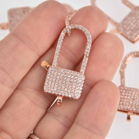Rose Gold Micro Pave Lock Clasp, Carabiner 33mm fcl0422