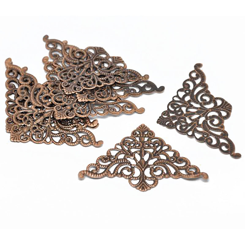 "30 COPPER Vintage Style Filigree Flat Metal Findings, 3"" long fil0035"