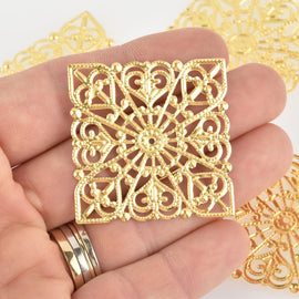 20 Gold Filigree Squares, flat thin findings for jewelry making, crafts  fil0106
