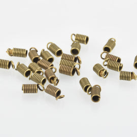 25 Bronze Tone Coil End Crimp Fasteners, fits 3mm cord, 8x4mm, fin0634