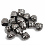 5 Gunmetal Hammered Textured End Caps for Kumihimo Jewelry, Leather Cord End Connectors, Bails, Bead Caps, Fits 10mm cord, fin0665