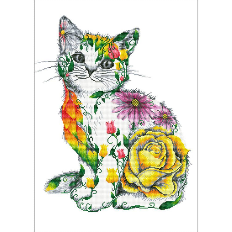 Diamond Painting Kit, Flower Puss Cat, Diamond Dotz Facet Bling Wall Art kit0247