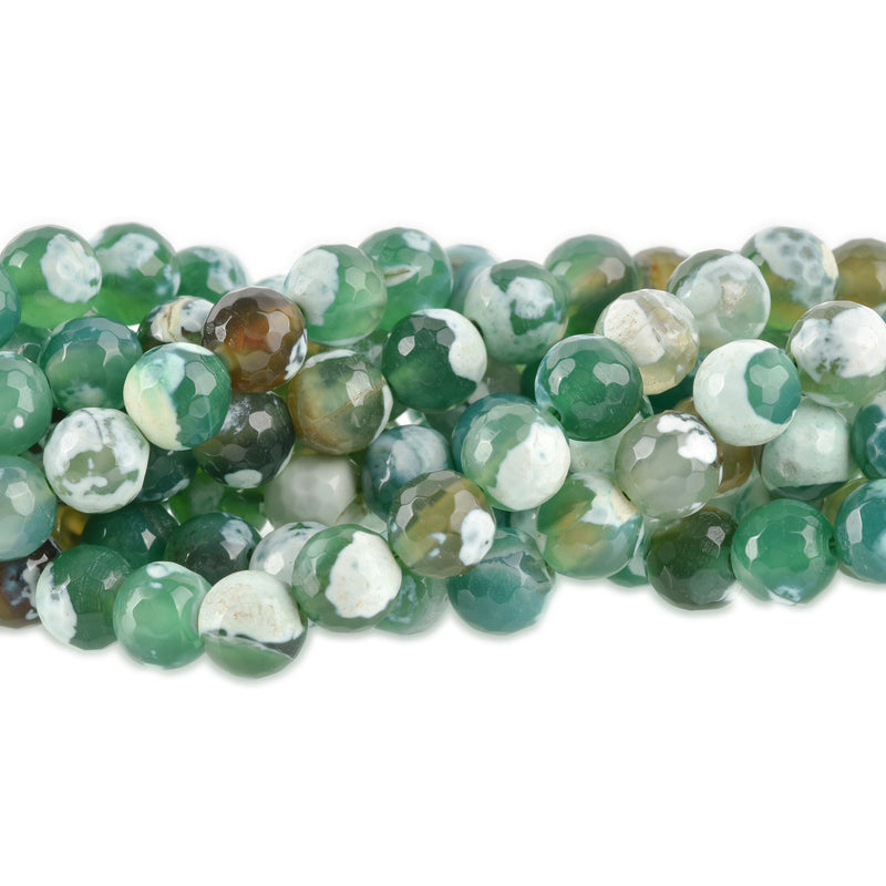 8mm Round FACETED Green EMERALD CITY Agate Beads, full strand  Natural Gemstones  gag0019
