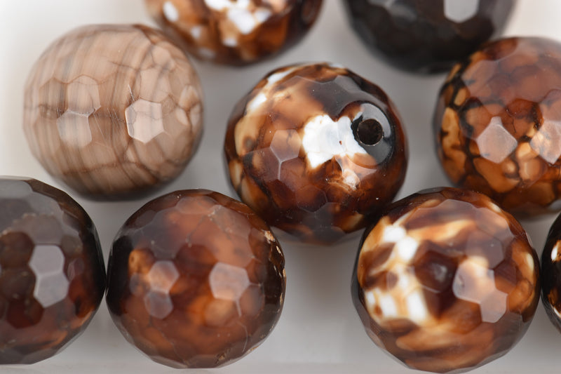10 Polished Round Faceted TORTOISE SHELL AGATE  Beads  12mm, gag0023