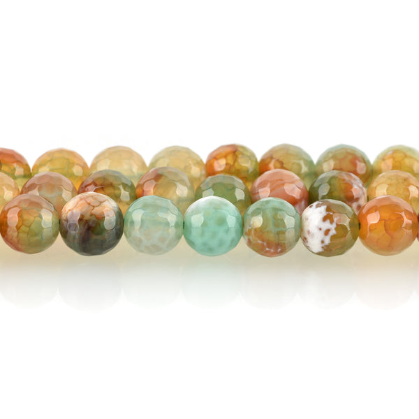 1 Strand Round Dyed FACETED Mixed Colors RED and GREEN Fire Agate Beads, 8mm  Natural Gemstones gag0087