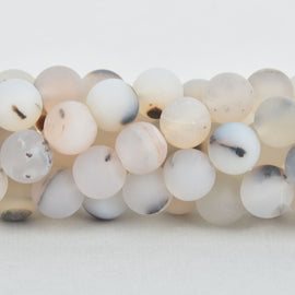 10mm WHITE CHOCOLATE AGATE Round Beads, frosted matte, non-faceted, full strand, Natural Gemstones, about 38 beads, gag0339