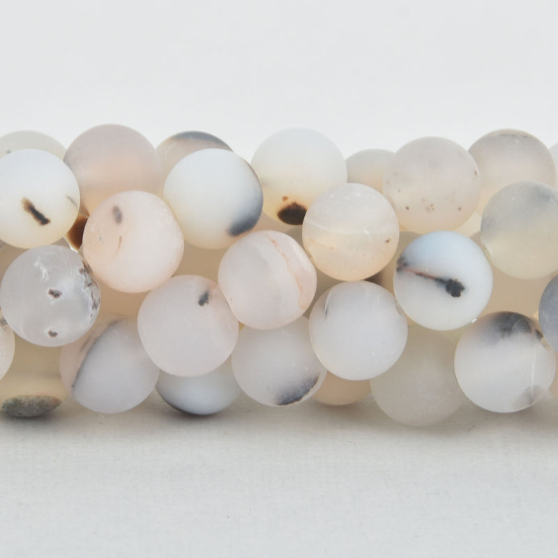 8mm WHITE CHOCOLATE AGATE Round Beads, frosted matte, non-faceted, full strand, Natural Gemstones, about 48 beads, gag0340