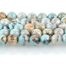 10mm Agate Beads, Round ROBIN'S EGG BLUE Green Gemstone Beads, Smooth Round Beads, blue green, tan, full strand, 37 beads, gag0354